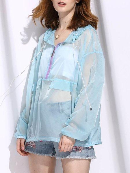 Light Blue Hoodie See-through Look Long Sleeve Coat