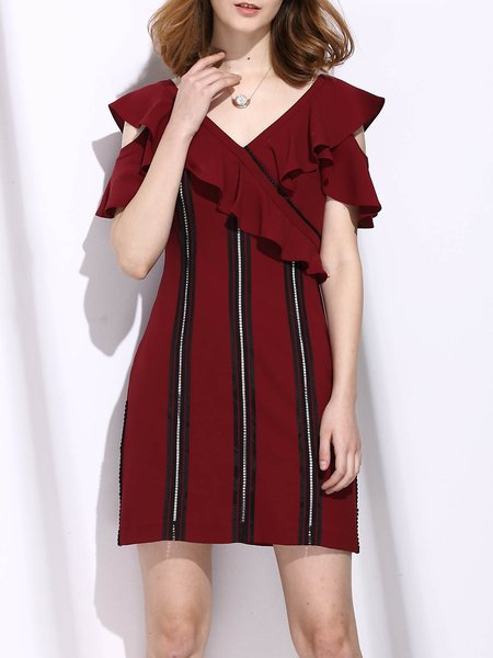 Burgundy Cold Shoulder V Neck Ruffle Sleeve Mini Dress