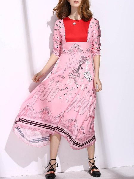 Color-block 3/4 Sleeve Printed Crew Neck Swing Boho Chiffon Dress
