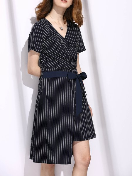 Navy Blue V Neck Shorts Sleeve Stripes Midi Dress