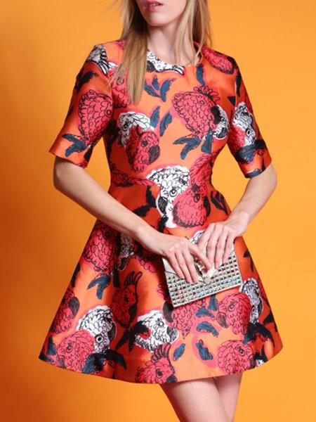 Orange  Floral Shorts Sleeve Mini Dress