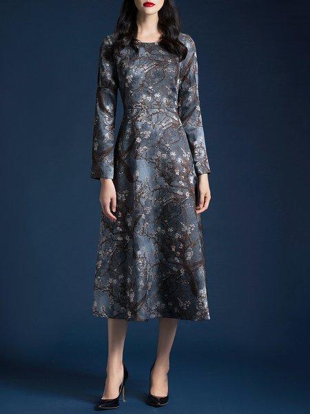 Gray Long Sleeve Floral-print Midi Dress