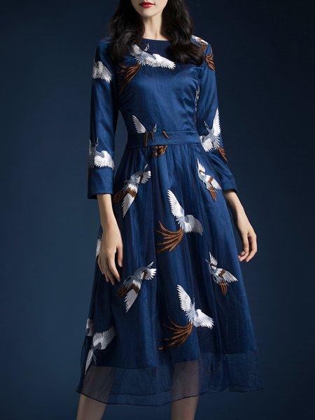 3/4 Sleeve Embroidered Elegant Midi Dress