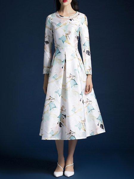 Blue Floral-print Floral Elegant Midi Dress