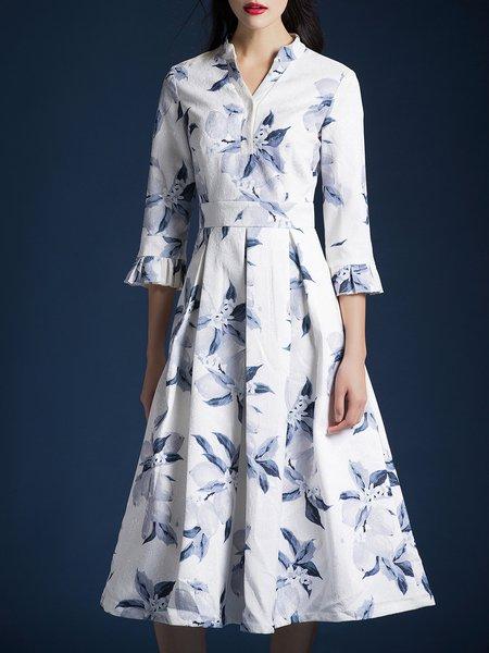 White Folds Floral 3/4 Sleeve Midi Dress