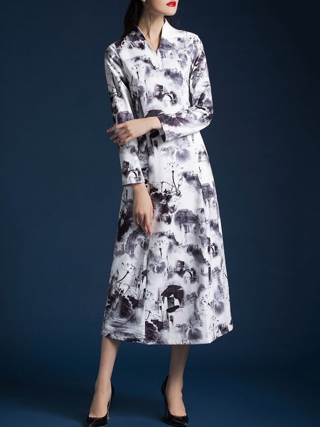 White Vintage Floral Stand Collar Floral-print Midi Dress