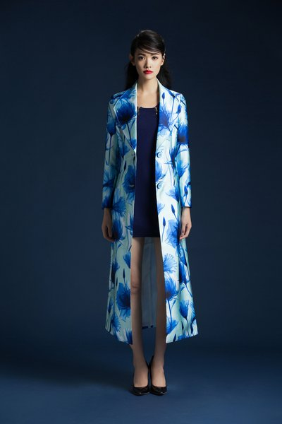 Long Sleeve Floral-print Polyester Statement Coat