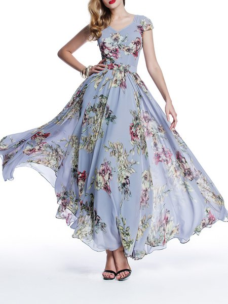 Chiffon Boho V Neck Floral-print Short Sleeve Maxi Dress