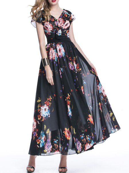 Black Floral-print Swing Casual Maxi Dress