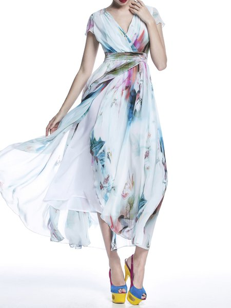 Chiffon A-line Casual Sleeveless Maxi Dress
