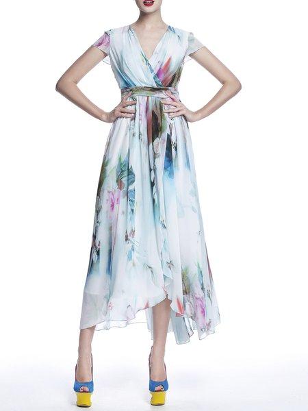 Plus Size Sheath Color-block Elegant 3/4 Sleeve Bateau/boat Neck Midi Dress
