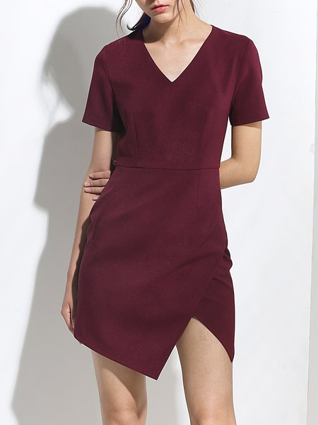 Red Asymmetrical Casual Slit Mini Dress