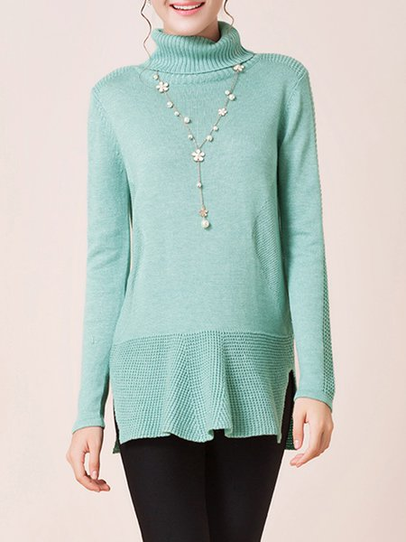 Green Turtleneck Casual H-line Knitted Sweater