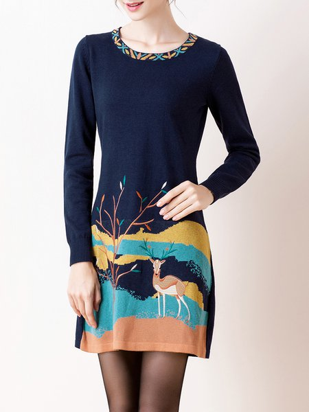 Long Sleeve A-line Casual Cotton-blend Embroidered Mini Dress