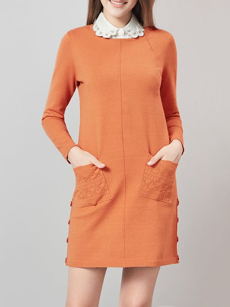 Orange Long Sleeve H-line Crew Neck Pockets Mini Dress
