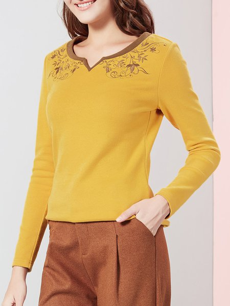 Yellow Cotton-blend H-line Printed Long Sleeve Long Sleeved Top