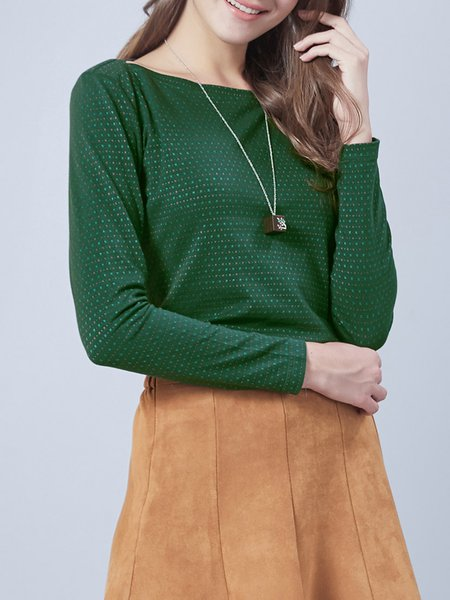 Green Knitted Casual Long Sleeved Top
