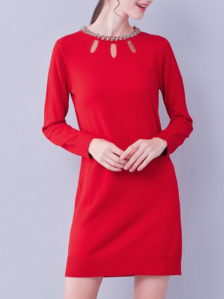 Red Plain Cutout Simple Beaded Mini Dress