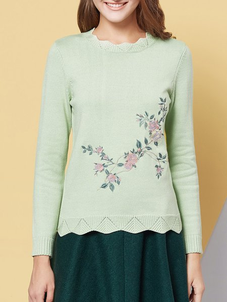 Crew Neck H-line Long Sleeve Casual Embroidered Long Sleeved Top