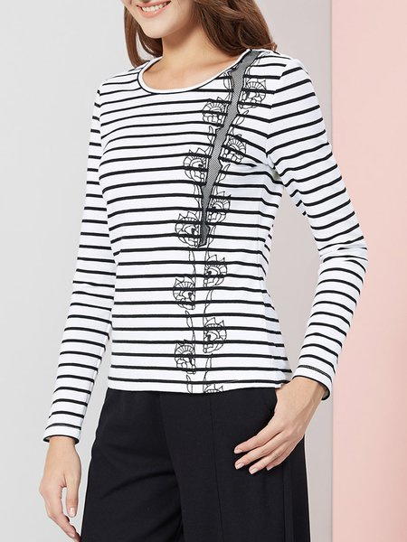 White Crew Neck H-line Casual Stripes Long Sleeved Top