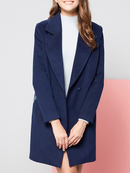 Blue Embroidered Simple Pockets Coat