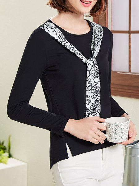 Black Slit Casual Solid H-line T-Shirt