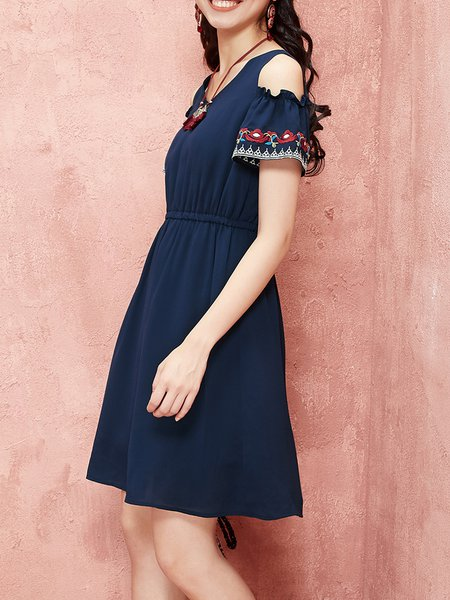 Navy Blue Cold Shoulder Cold Shoulder A-line Midi Dress