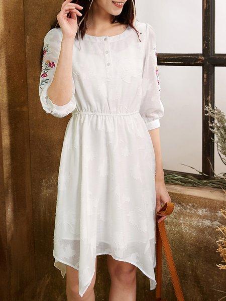 White Crew Neck Casual Asymmetrical Midi Dress
