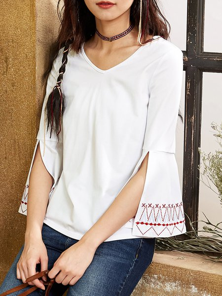 Casual Embroidered 3/4 Sleeve H-line T-Shirt