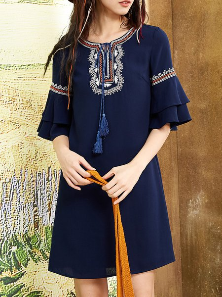 Navy Blue Embroidered Shift Tribal Bell Sleeve Midi Dress