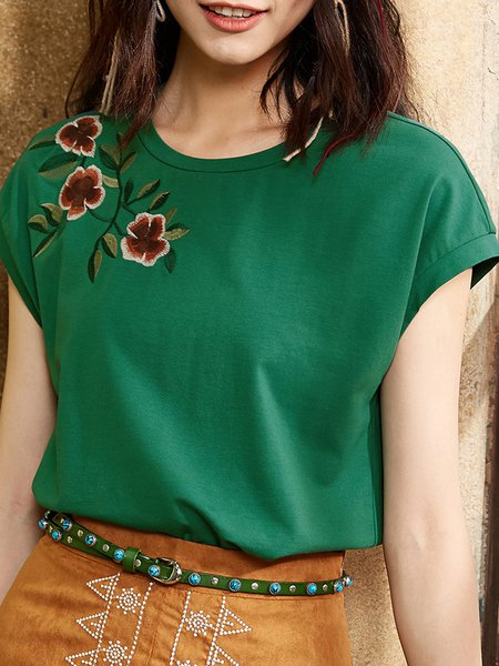 Embroidered Crew Neck Casual Short Sleeve H-line T-Shirt