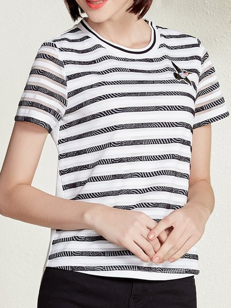 White Crew Neck Casual Stripes H-line T-Shirt