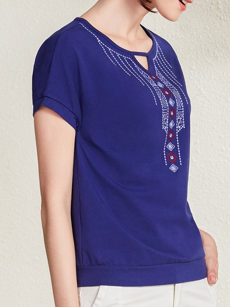 Plus Size Embroidered Batwing Vintage T-Shirt