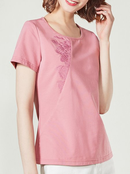 Short Sleeve Embroidered Casual Cotton-blend H-line T-Shirt