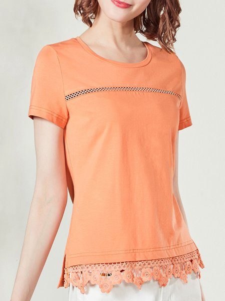 Crocheted Lace  H-line Shorts Sleeve T-Shirt