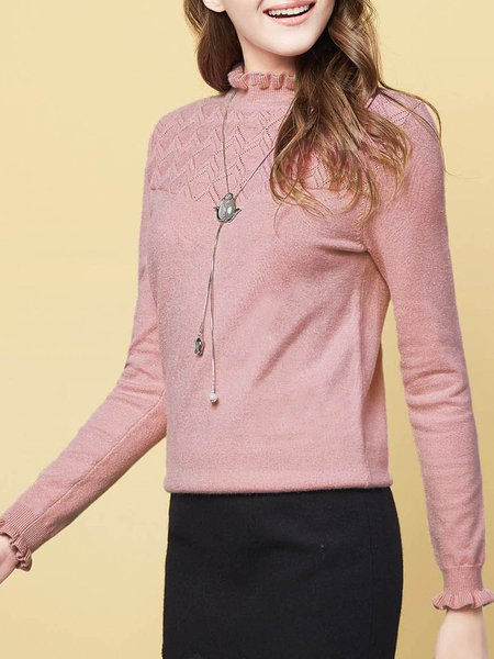 Pink  Plain H-line Long Sleeve Sweater