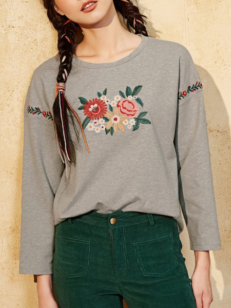 Gray Long Sleeve Floral-embroidered Crew Neck Top