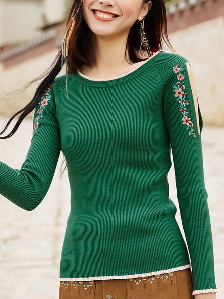 Dark Green Elegant Solid Crew Neck Embroidered Sweater