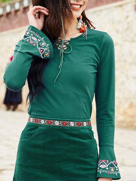 Dark Green Solid Bell Sleeve Long Sleeved Top