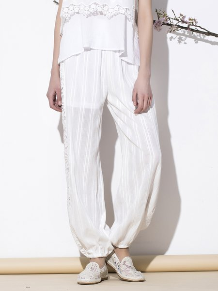 White Casual Paneled Solid Straight Leg Pants
