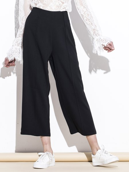 Polyester Casual Solid Wide Leg Pants