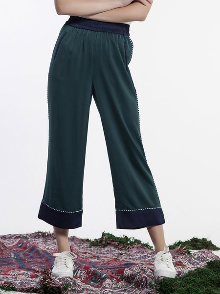 Casual Polyester Wide Leg Pants