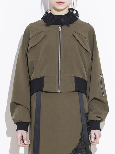 Army Green Casual Solid Polyester Coat