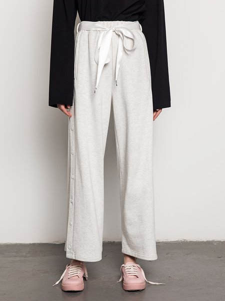 Solid Buttoned Cotton Casual Wide Leg Pants