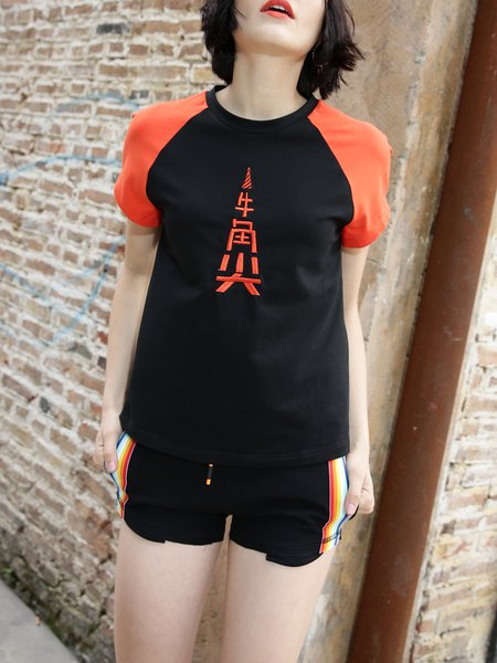 Black Color-block Embroidered Crew Neck Short Sleeve T-Shirt