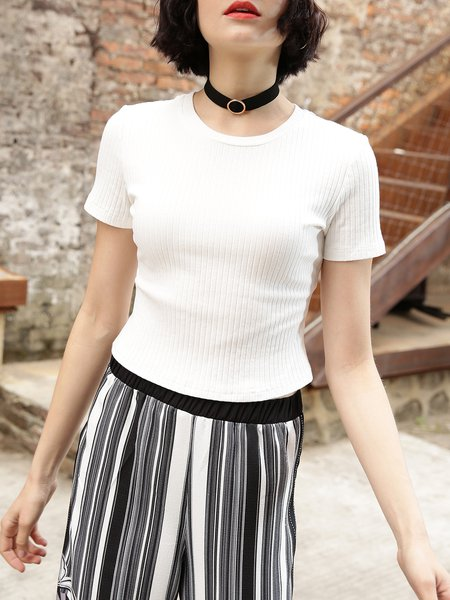 White Short Sleeve Sheath Knitted Cotton-blend Cropped Top