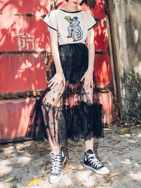 Mesh Paneled Casual Short Sleeve Midi Dress