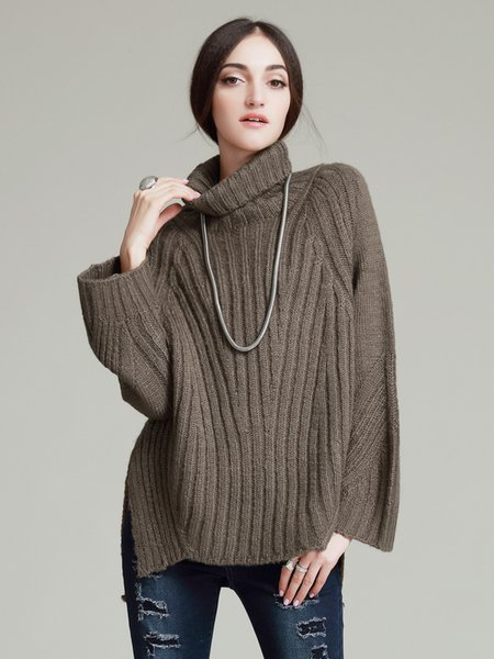 Slit Acrylic Plain Simple Long Sleeve Sweater