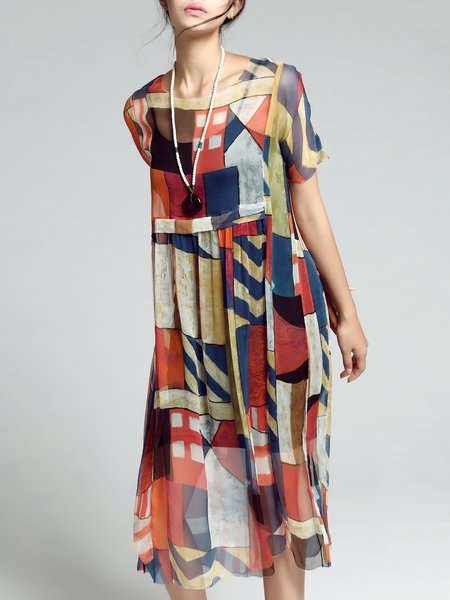 Multicolor Geometric Casual Printed Silk Two Piece Midi Dress