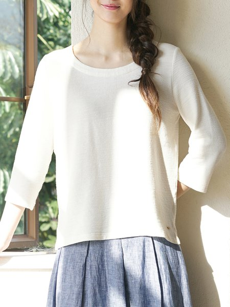 Beige Solid Cotton Casual Tops